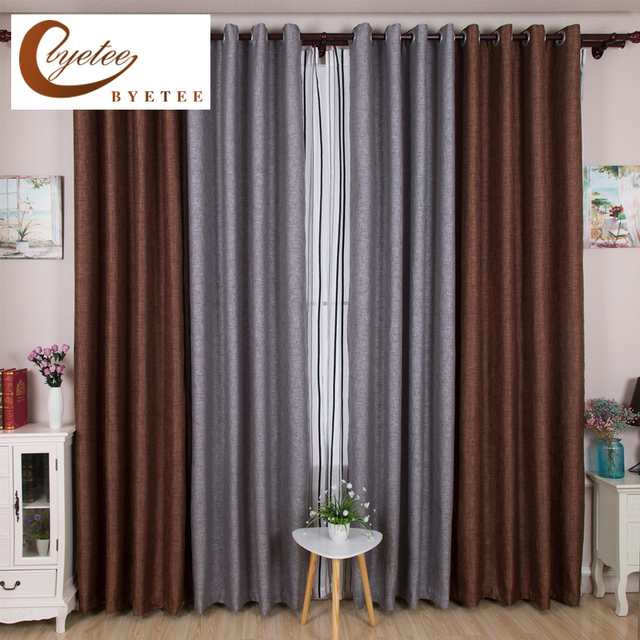 {Byetee} Modern Bedroom Blackout Curtains Shading Cloth Simple Living Room  Two Colors Stitching