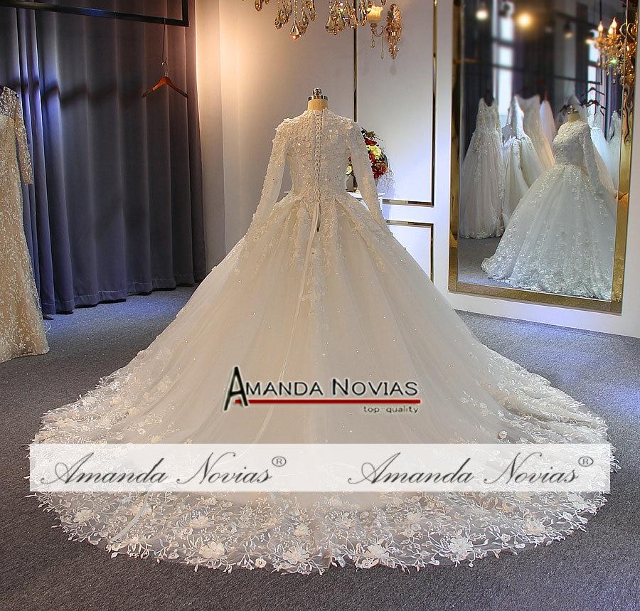 Image 5 - wedding gowns 2019 muslim wedding dress with flowers full lace bridal dressWedding Dresses