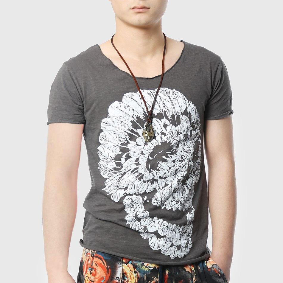 T shirt design hip hop - Aliexpress Com Buy Men Skull T Shirt Print T Shirt V Neck Fashion Cotton Hipster Funny Design Hip Hop Top From Reliable Shirt Jeans For Men Suppliers On