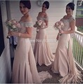 Custom Elegant Pink Mermaid Long Goddess Bridesmaid Dresses with Sleeves Scoop Neck Court Beaded Wedding Party Dress 2017