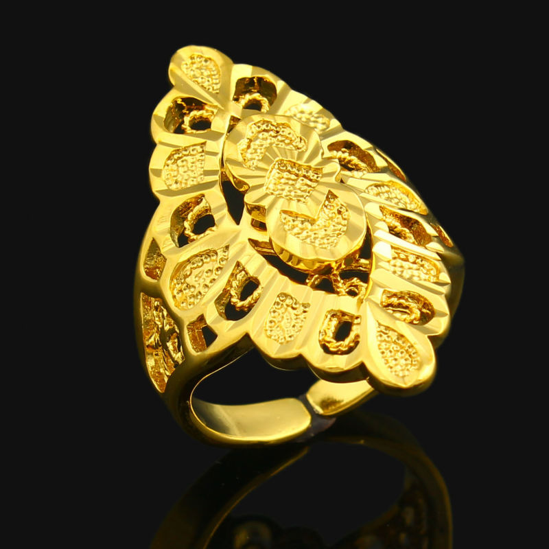 Resizable Gold Color Rings Women Wedding Jewelry
