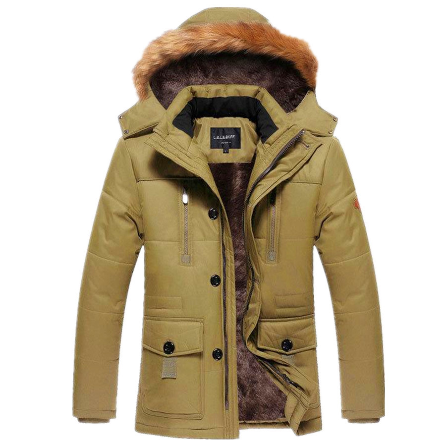 Size L-4XL New Men's High Quality Cotton Thick Winter Snow Warm Jacket Coat,Hooded Faux Fur Parkas,5 Colors,0719,Free Ship risk–adjusted lending conditions