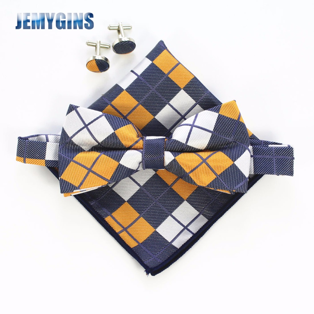JEMYGINS Fashion Men Bue Slips Manchetknapper Pocket Squares Set Man Bowtie Lommetørklæde Set Til Wedding Vintage Plaid Paisley Hanky