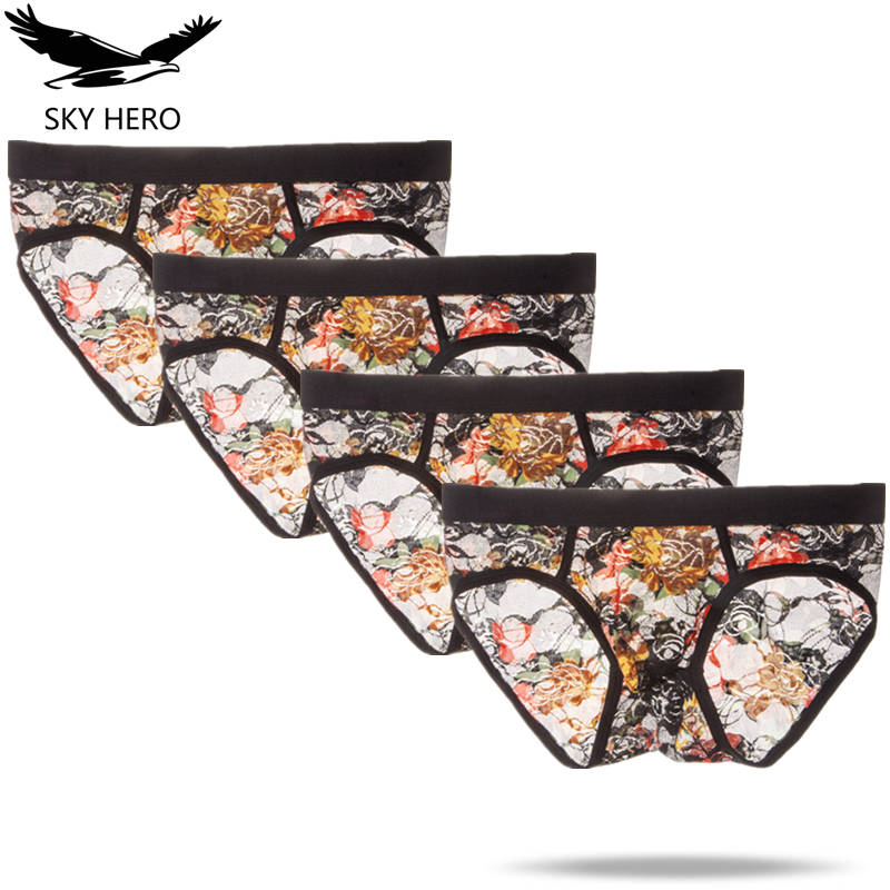 4pcs/lot Flower Boxer Shorts Mens Underwear Boxer Homme Sexy Transparent Mesh Underpants Cueca Male Panties Funny