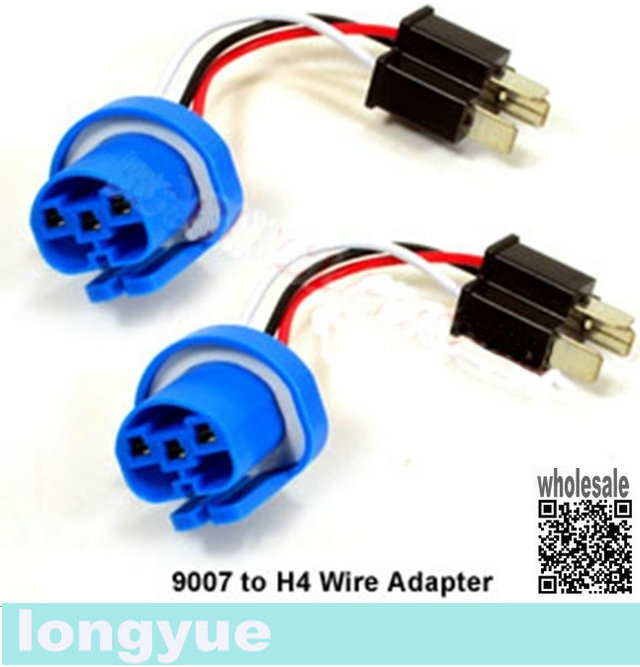 longyue-2pcs-9004-9007-to-H4-Headlight-wire-adapter-new-10cm H H Wiring Harness on