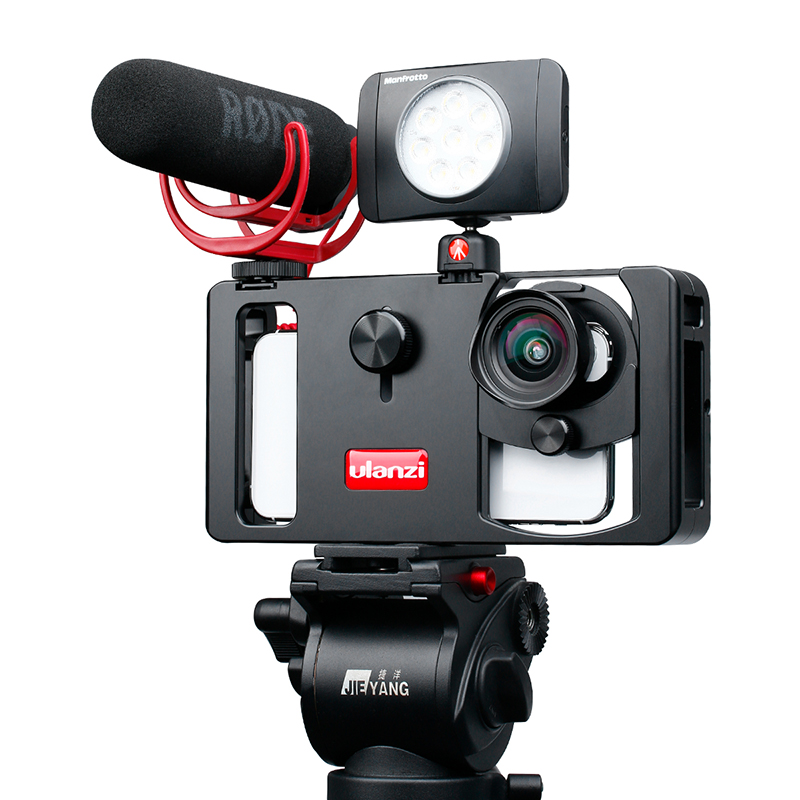 Ulanzi видео Samrtphone Rig с CPL широкоугольный телефон объектив Vlogging трансляции Rig Стабилизатор Filmmaking чехол VS Beastgrip