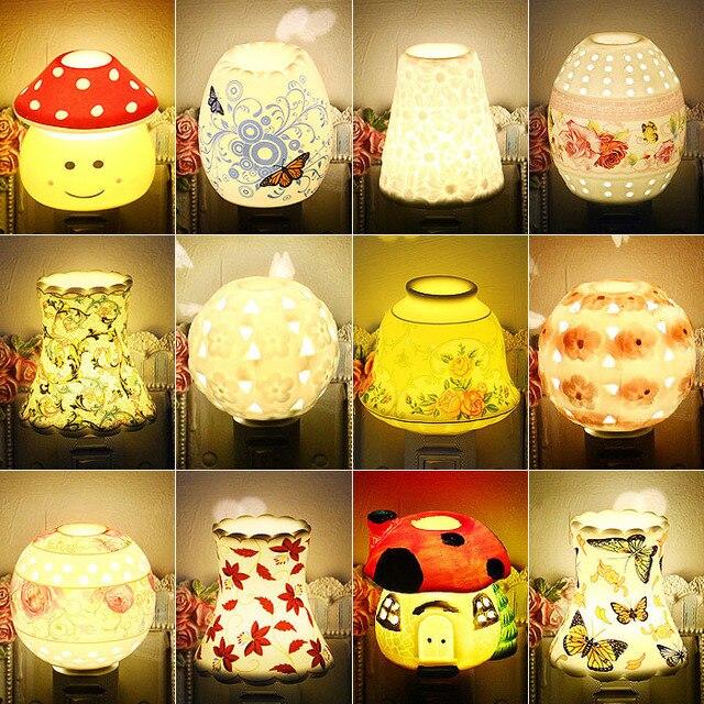 Plug switch ceramic night light baby bedside lamp plug in aroma lamp plug switch ceramic night light baby bedside lamp plug in aroma lamp mushroom night light audiocablefo
