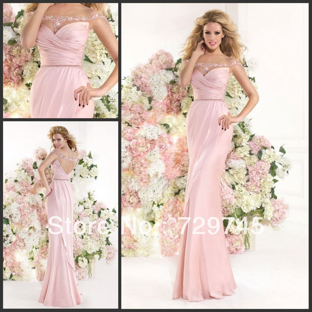 2014 Elegant Spring Summer Pleating A Line Pink Chiffon
