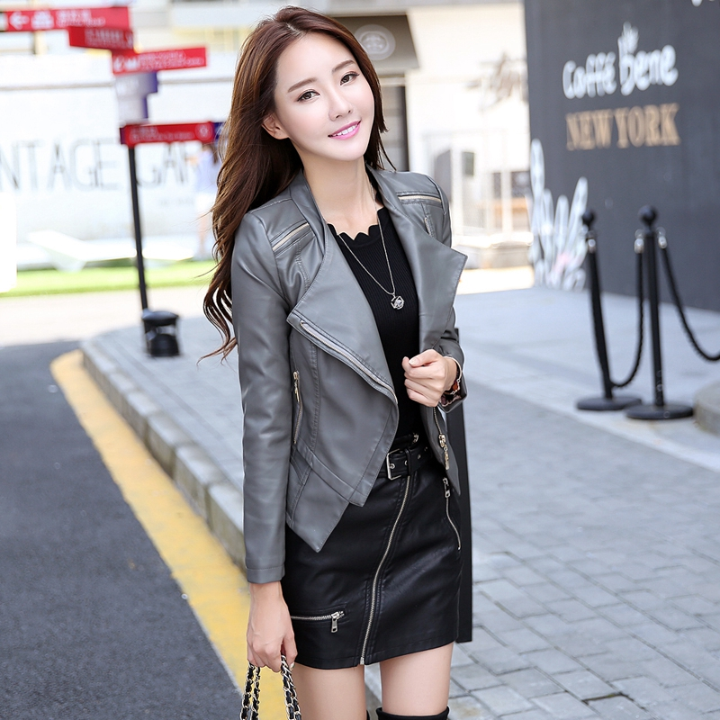 Spring   Leather   Coat Women Motorcycle   Leather   Jacket Outerwear Black ,Grey ,Red Ladies Clothing Slim Fashion Zippers   Suede
