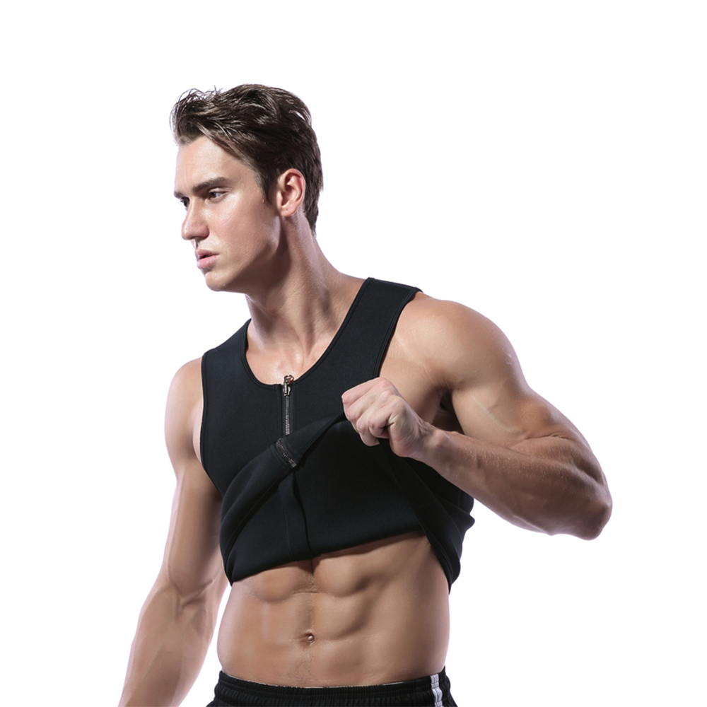 Men's Sports Vests <font><b>Neoprene</b></font> Corsets Speed Wicking Abdomen Zipper Corset Sports Running <font><b>T</b></font>-<font><b>shirt</b></font> 695 image