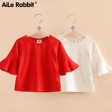 Girls' Clothes Tops T-shirt Trumpet Sleeves Girls Bottoming Shirt Children's Wear Clothes White Red For Girls 2-7 Years Old