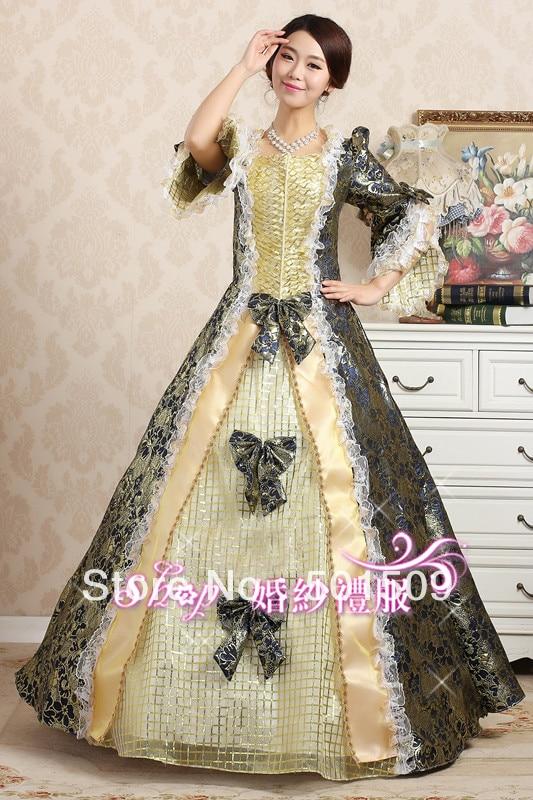 Free ship blue golden Medieval Renaissance gown dress Vampire Costume Halloween Victorian Marie Antoinette Colonial Belle