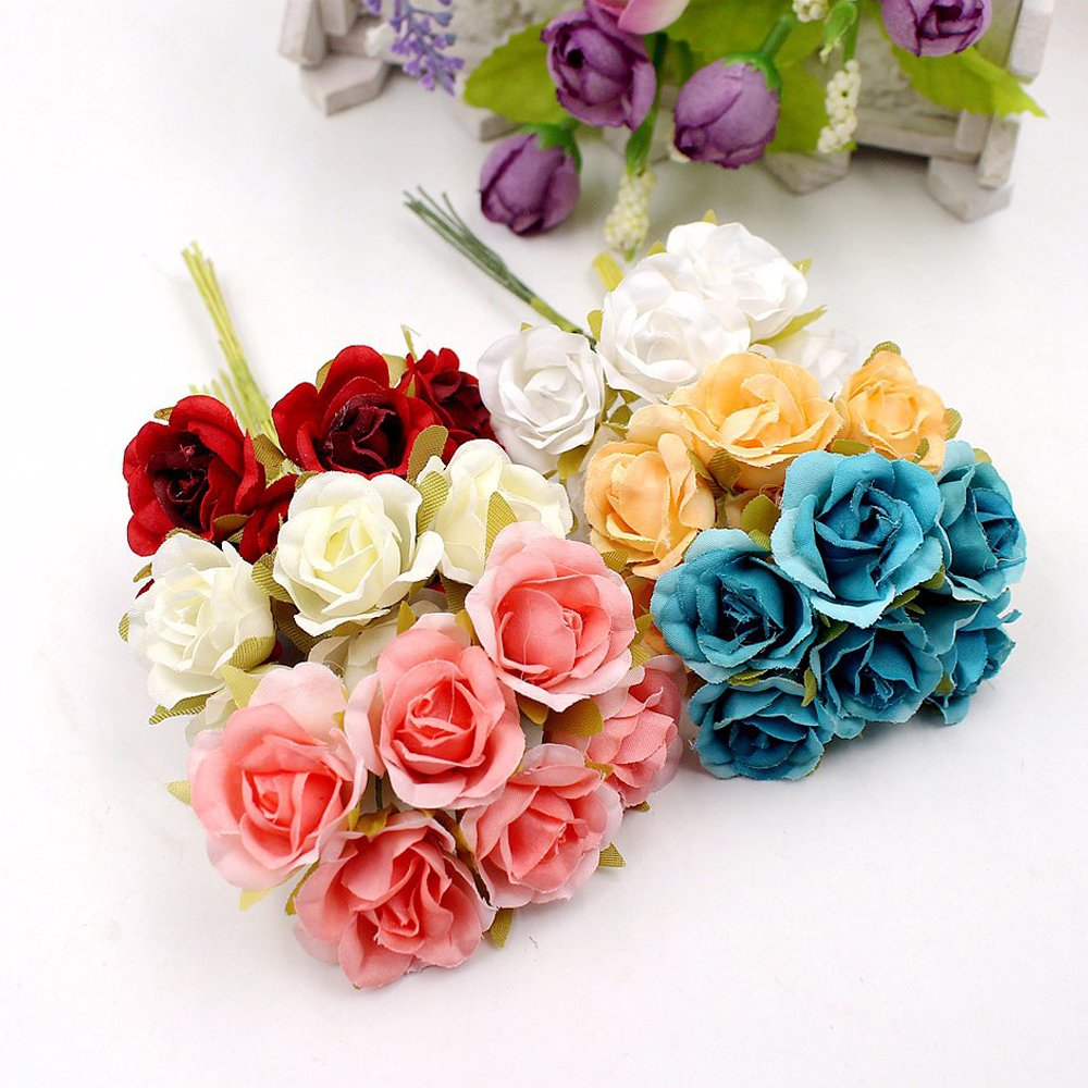 6Pcs/lot Mini Rose Artificial Flowers Bouquet for Wedding Home Party Decoration DIY Handcraft Wreath Scrapbooking Fake Flowers