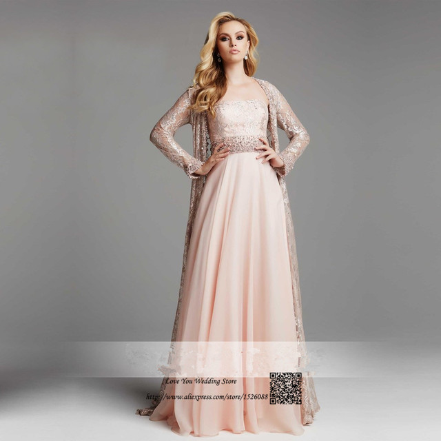 Formal Pink Muslim Evening Dress Long Sleeve Plus Size Mother Of The