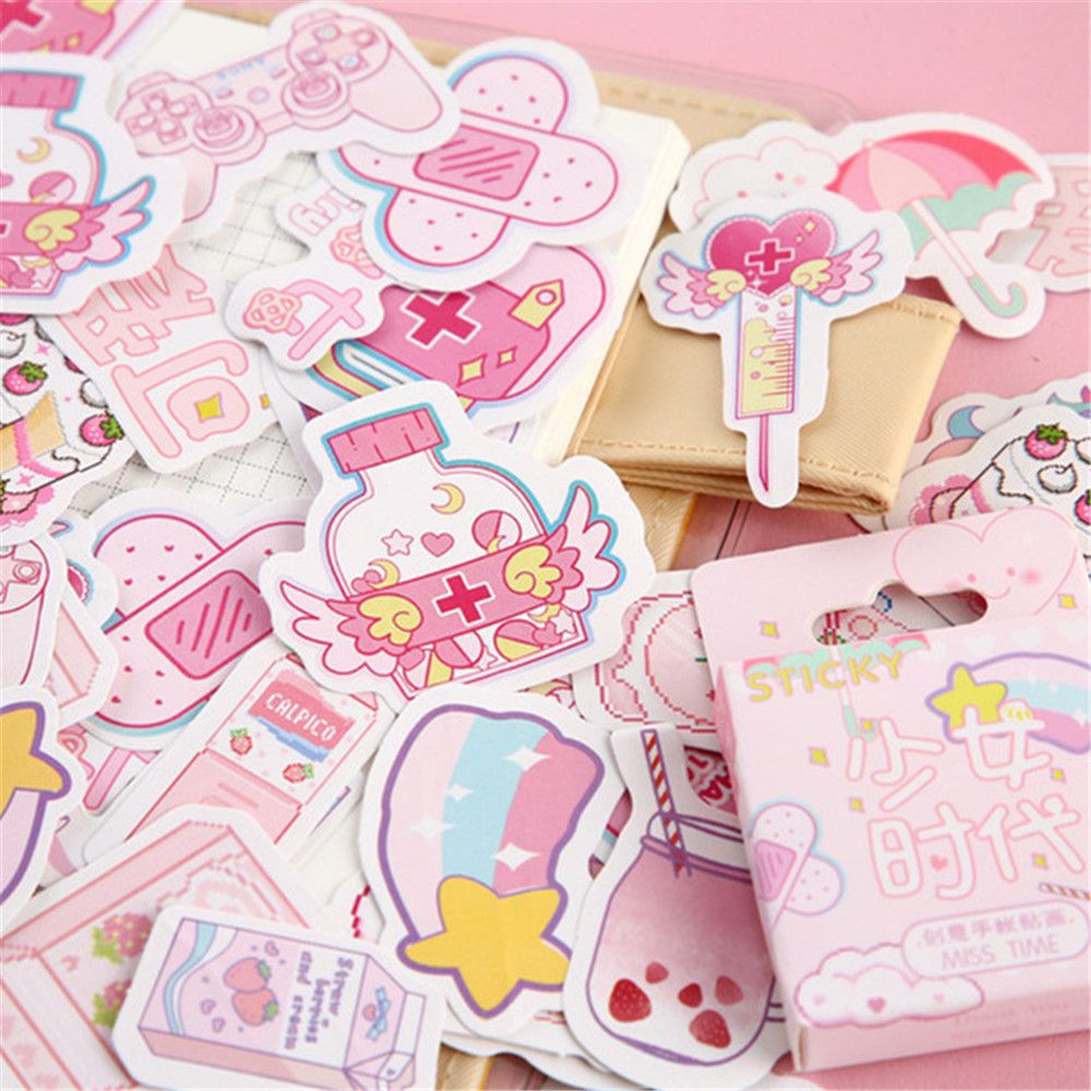 46PCS/Box Kawaii Girl Time Series Stickers Boxed Stickers Cute Planner Scrapbooking Stationery Japanese Diary