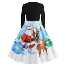 Women Winter Long Sleeve Christmas Swing Vintage Dresses Elegant Print Midi Party Dress
