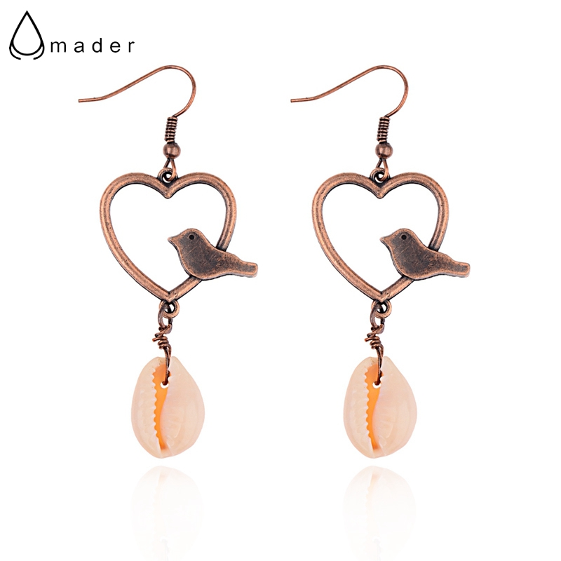 Apprehensive Amader Heart&bird Natural Shell Drop Earrings Handmade Charm Pendant Bohemian Summer Holiday Dangle Earrings Creative Hqe936 Superior (In) Quality