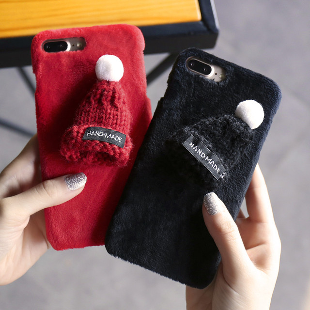 Winter Warm Lovely Case For iPhone 6 6s 7 8 Plus 5 5S SE Plush Knitted Hairy Hat Cases For iPhone 6S 6 7 8 5 5S SE Phone Shells