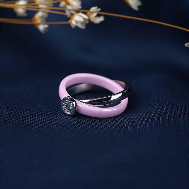 طقم مجوهرات نسائي خزفي رومنسي من الفولاذ المقاوم للصدأ والكريستال مجموعة مجوهرات للسيدات هدية الذكرى السنوية مجموعة أزياء الزفاف