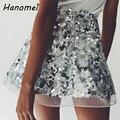 Sexy Alta Cintura Mujeres de La Falda de Lentejuelas de Oro de Tul Saia 2017 de Verano Rok Tule Corto Una Línea de Faldas faldas Mujer Mini Jupe Femme C67