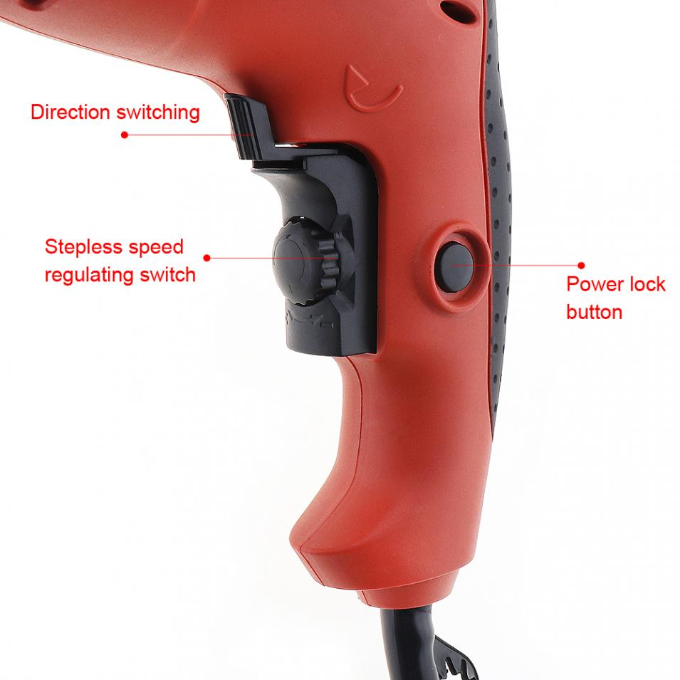 Power Tools Ac 220v 2900rpm Stepless Shift Electric Impact Drill With 13mm Chuck And Switch Button For Wood Metal Glass Drilling Tools
