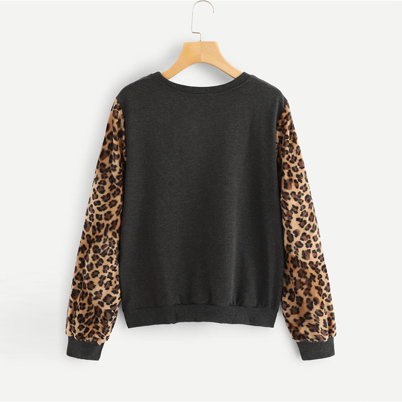 Grey Round Neck Long Sleeve Colorblock Leopard Sleeve Casual Sweatshirts