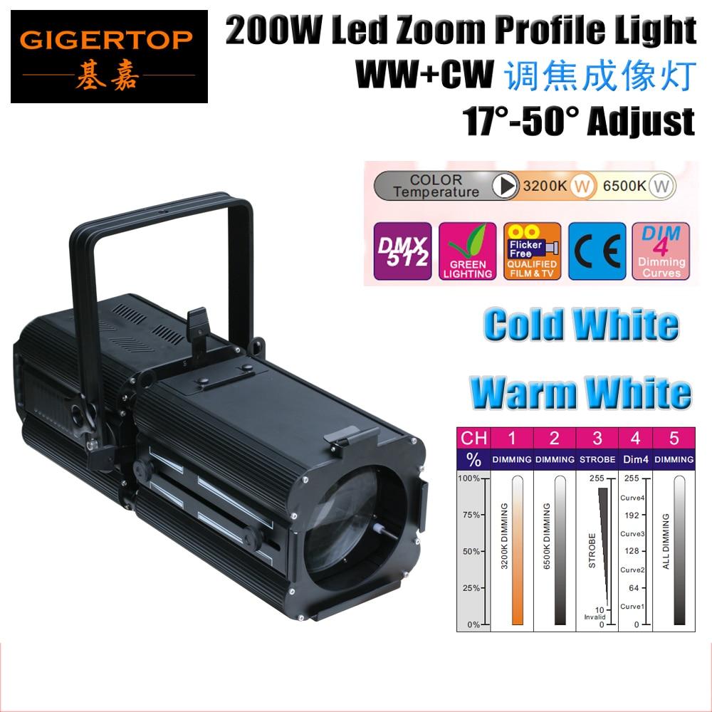 Freeshipping Warm White/Cold White 200W 2in1 Led Profie Zoom Spot Audience Light 3200K/6500K DMX in/out IP20 3 Pin XLR TP-005 удлинитель zoom ecm 3