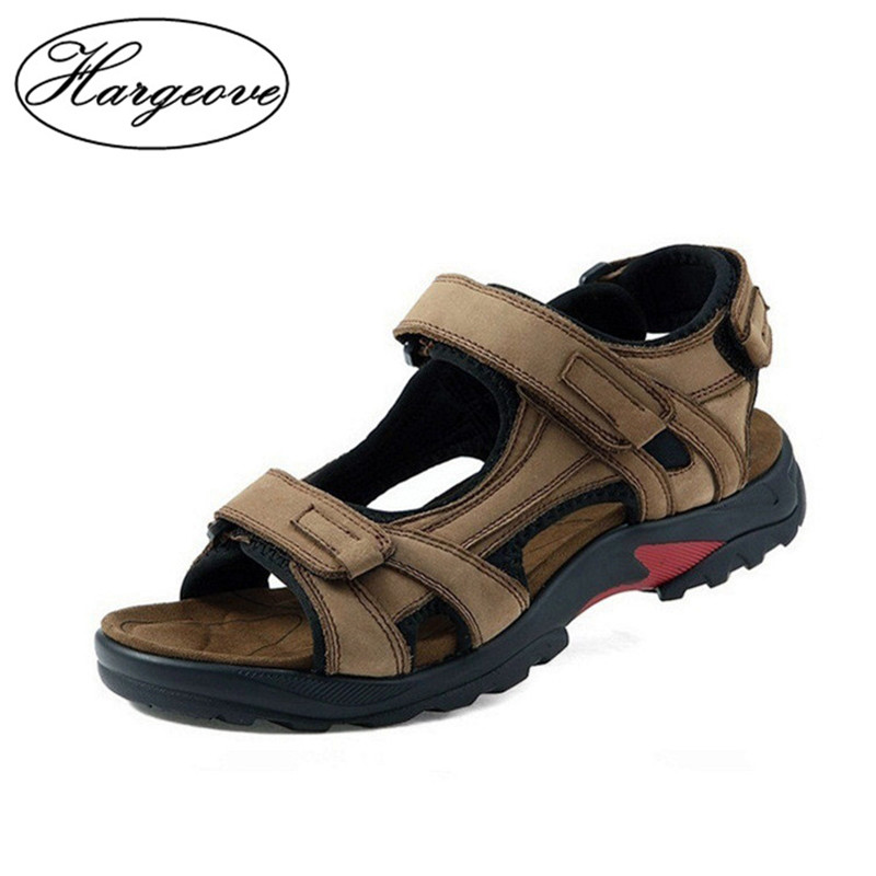 HARGROVE new Genuine Leather Men Shoes Tracking Summmer Walking Sandals Mens 2018 New Big Size Outdoor Beach Shoes Male Sandals