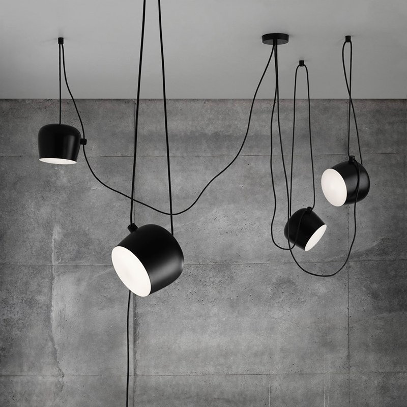 Personality Nordic Brief Wire Drop Hanging Lamp Black White Led Loft Pendant Lights Flower