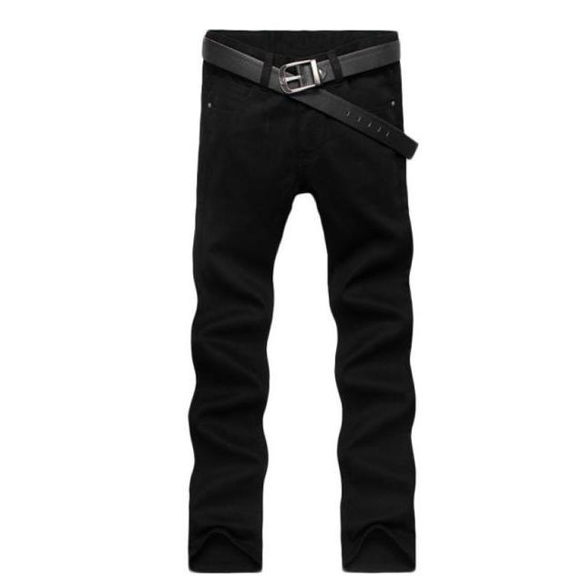 2016 Pantalones Vaqueros de Los Hombres Al Por Menor y Al Por Mayor Pantalones Rectos Delgados de Color Negro Marca de Algodón Pantalones Vaqueros de Los Hombres #2415