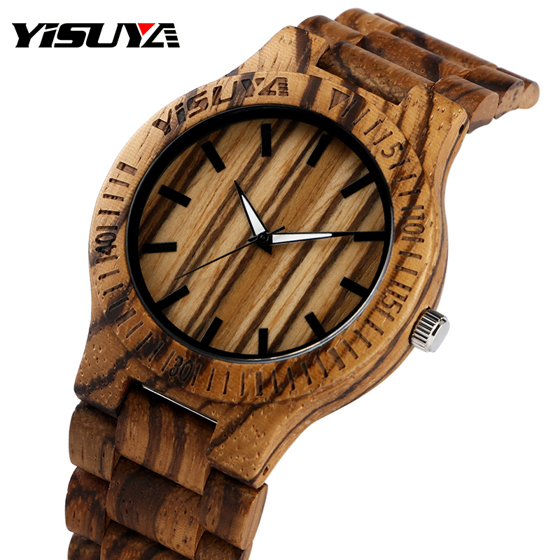 Top Brand YISUYA Men's Wood Watch Hand-made Grain Dial Bamboo Wristwatches for Women Wooden Band цена