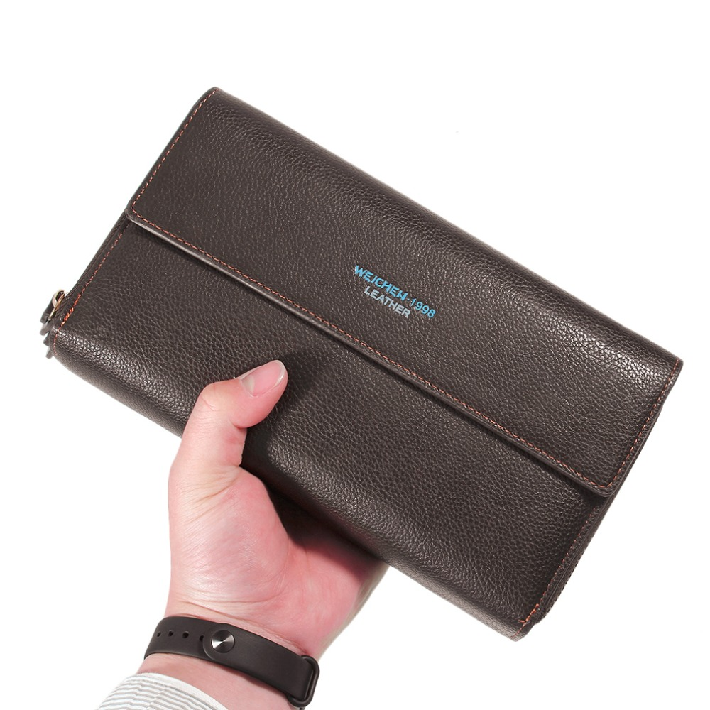 WEICHEN HP94410-3-3W Men Long Style Wallet PU Leather Luxury Business Men Purse Wallet Male Clutch For Money Cards lorways 016 stylish check pattern long style pu leather men s wallet blue coffee