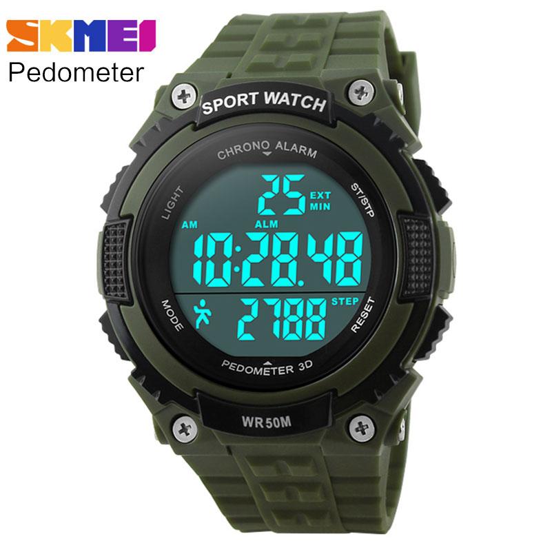 Prix pour Podomètre de course montres hommes garçon femmes sport numérique LED montre 50 M étanche armée vert noir en caoutchouc bande horloge SKMEI marque