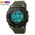 pedometer running watches men boy women sport digital LED watch 50M waterproof army green black rubber band clock SKMEI brand