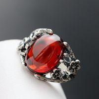 Ecoworld Ge Jewelry Wholesale 99 Fine Silver Inlaid Garnet Ladies Ring Ring Retro Silver Zirconium Opening