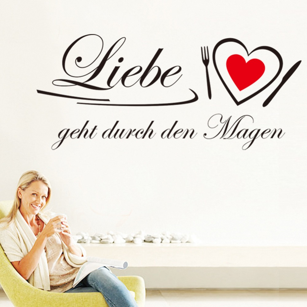 Liebe Geht Durch Den Magen German Quotes Wall Stickers Decal Living Room Kitchen Bedroom Home