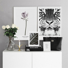HAOCHU Nordic Canvas Art Print Painting Poster Modern Black and White Writing Tiger Plant Living Room Picture Background Decor