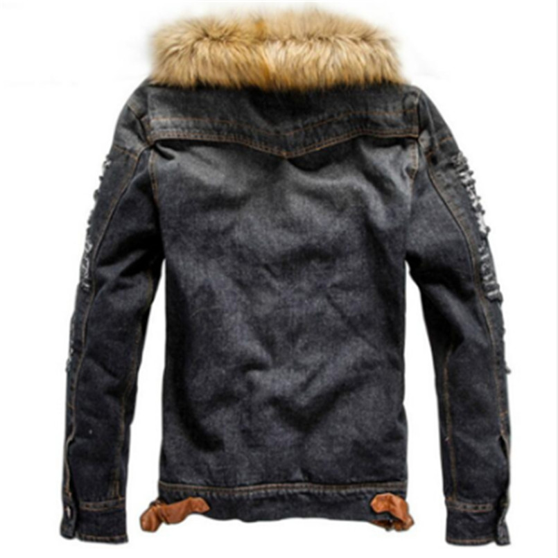 Image 4 - drop shipping 2018 new men jeans jacket and coats denim thick warm winter outwear S 4XL LBZ21-in Jackets from Men's Clothing