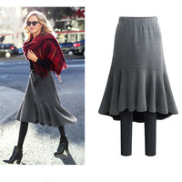 Women Fake 2Pcs Skirt For Autumn Winter Famale Knitted Thicken Leggings And High Waist Pleated Skirt Lady Elegant Skirts Ds50221