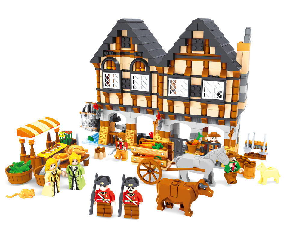 28001 884pcs City Market Constructor Model Kit Blocks Compatible LEGO Bricks Toys for Boys Girls Children Modeling28001 884pcs City Market Constructor Model Kit Blocks Compatible LEGO Bricks Toys for Boys Girls Children Modeling