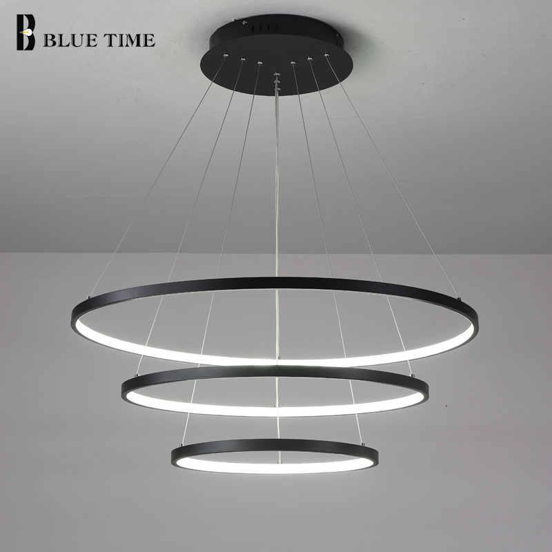 Candelabro Led circular negro 40 60 80cm candelabro moderno iluminación para sala de estar dormitorio comedor interior hogar Lustre lumínico