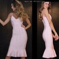 Celebrity Black Pink Slip Bodycon Pencil Bandage Dress Evening Party Fashion Dresses