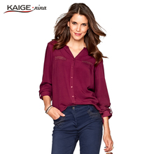Blouse Women 2017 Lady Tops Full Sleeves Office Shirt Women fashion Top Plus Size pure colour Casual Female Clothing Women 98019