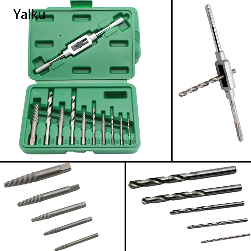 Metal Drilling Yalku Drill Bit Twist Drill Bit Set Screw Extractor 11 In 1 HSS Hand Drill Tap Holder Hot Sale! Screw Extractor free shipping of 1pc hss 6542 made cnc full grinded hss taper shank twist drill bit 11 175mm for steel