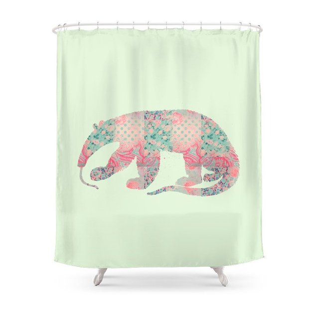 Anteater Vintage Floral Pattern Mint Pink Salmon Coral Teal Shabby Chic Shower Curtain