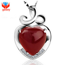 925 Sterling Silver Jewellery Prime High quality Pure Crimson Agate Coronary heart Pendant Necklace for Ladies Romantic Reward of Valentines ZN063