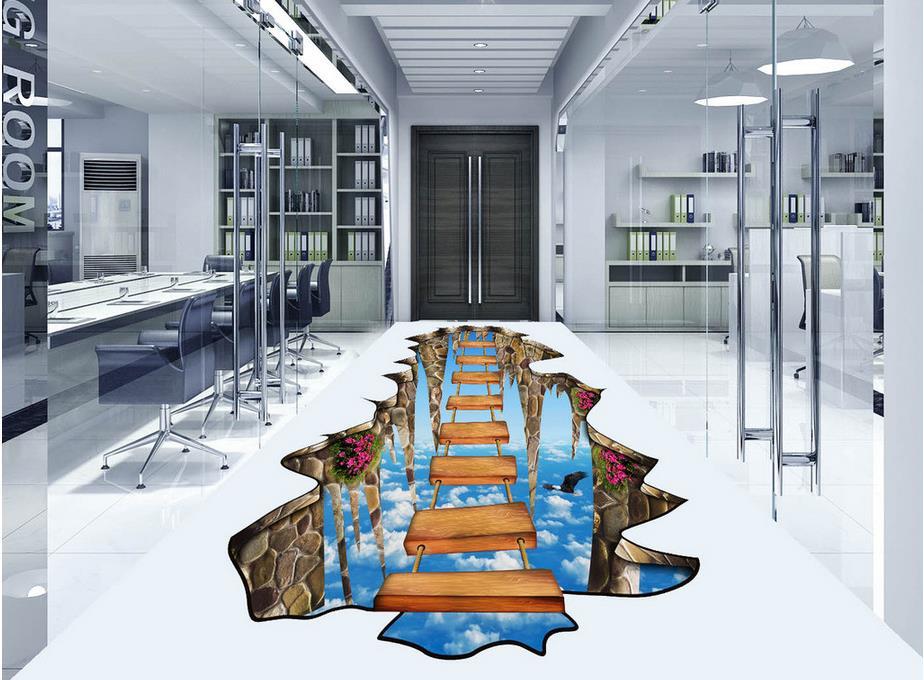 Floor wallpaper 3d for bathrooms sky ladder 3D wallpaper 3d floor murals PVC   waterproof floor 3d floor painting