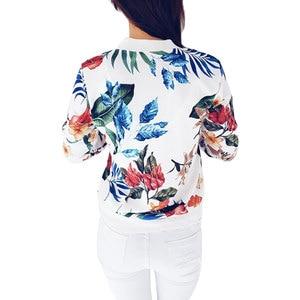 Image 5 - 2018 Women Coat Retro Floral Print Zipper Up Jacket Casual Coat Autumn Long Sleeve Outwear Women Basic Jacket Bomber Famale 5XL