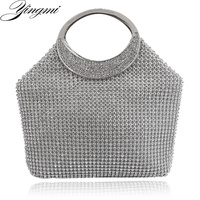 YINGMI European style buckle shaped women clutch bags full side diamonds soft luxurious evening bags for wedding bridal