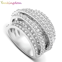 New Unique Personality Fine Jewelry Banquet Party EU US Women S Rings Austrian Crystal Gold Plated